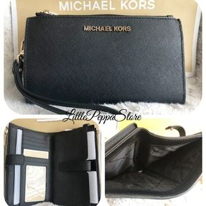 MICHAEL KORS DOUBLE ZIP WRISTLET WALLET BLACK